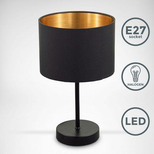 B.K.Licht Tischleuchte »BKL1422«, Stoff Tischleuchte, Retro, Schwarz-Gold, Kabelschalter, E27, Nachttischlampe, Schreibtischlampe, ohne Leuchtmittel