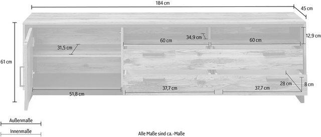 TV Möbel - Innostyle TV Board »Prato«, Breite 184 cm, 1 Holztür, 2 Schubkästen mit Doppelzarge, 2 offene Fächer  - Onlineshop OTTO
