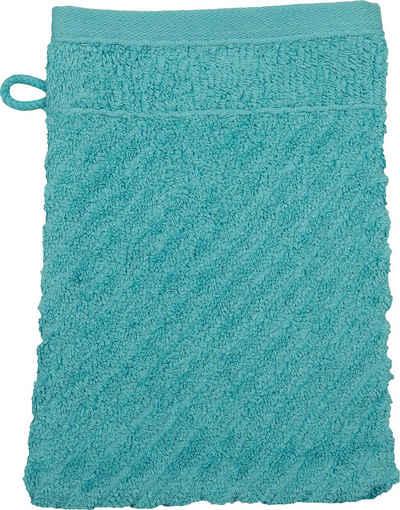 ROSS Waschhandschuh »Smart« (6-tlg), Uni-Rippe mit Velourslabel