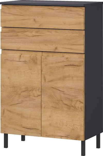 GERMANIA Badkommode »Scantic«, Breite 60 cm, Badezimmerschrank, 2 Türen, 2 Schubkästen, Türdämpfer, grifflose Optik, MDF-Fronten