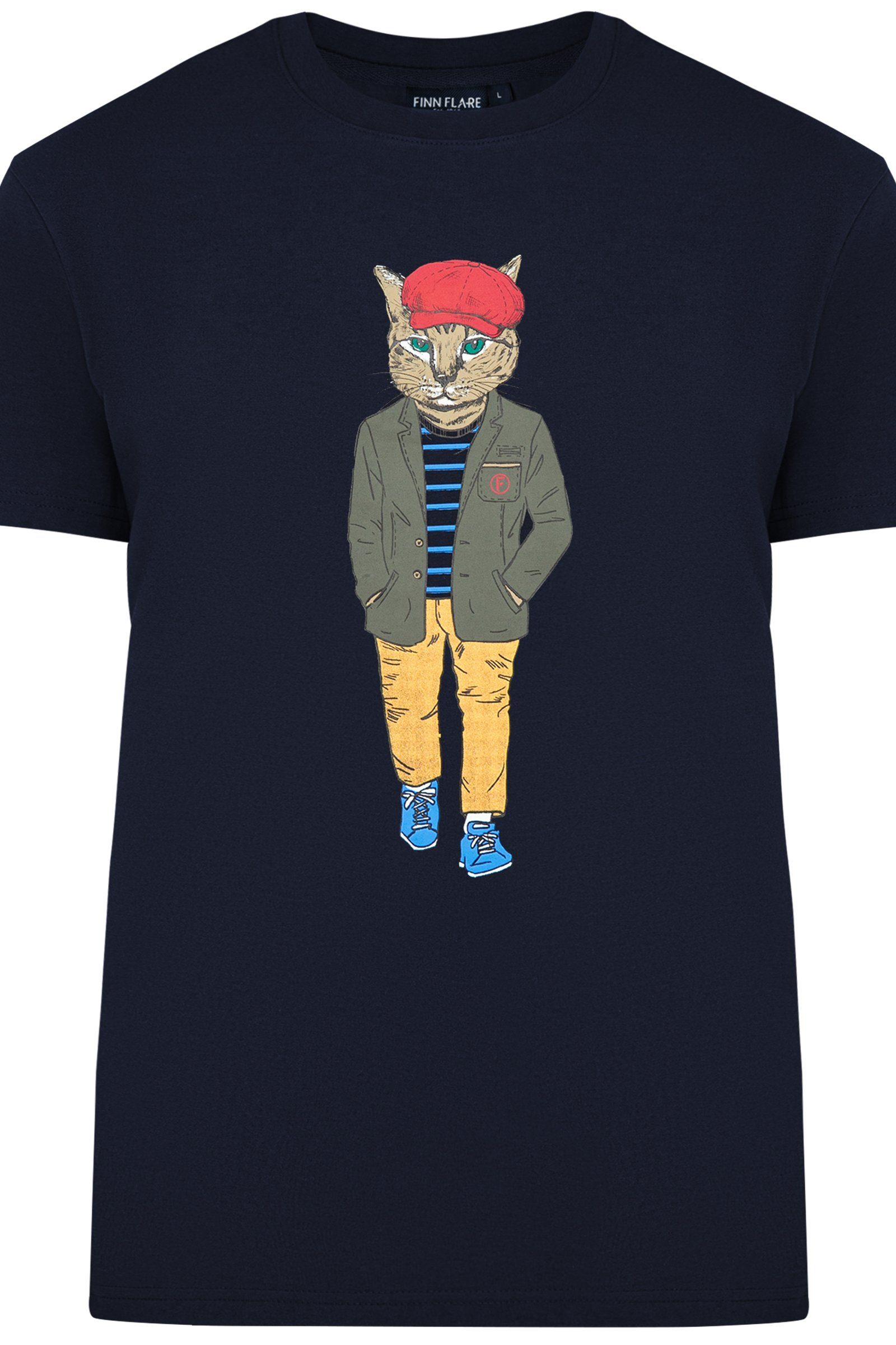 Finn Flare T-Shirt mit auffälligem Front-Print
