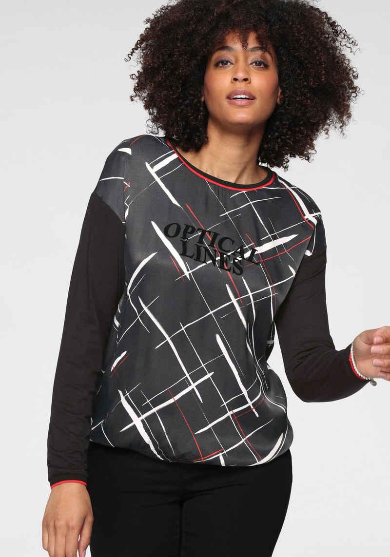 GERRY WEBER Shirtbluse aus Material-Mix, mit elastischem Saum