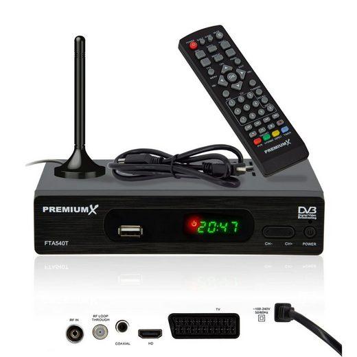 PremiumX »FTA 540T FullHD Digitaler DVB-T2 terrestrischer TV-Receiver H.265 HEVC USB Mediaplayer SCART HDMI inkl. Fuba Antenne« DVB-T2 HD Receiver