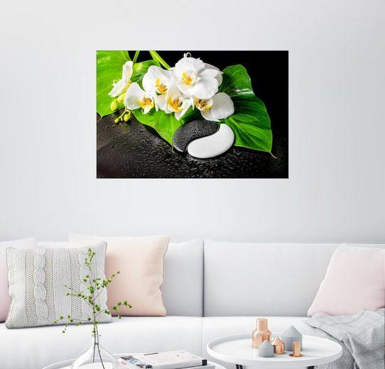 Posterlounge Wandbild, Weiße Orchideen und Yin-Yang Steine