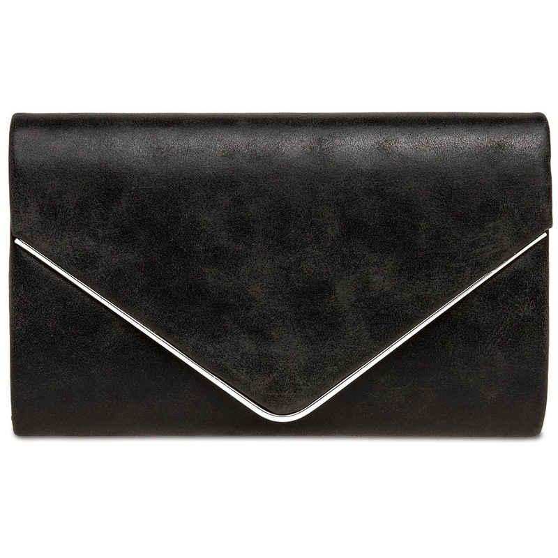 Caspar Clutch »CASPAR TA349 Damen elegante Clutch Tasche Abendtasche mit langer Kette«
