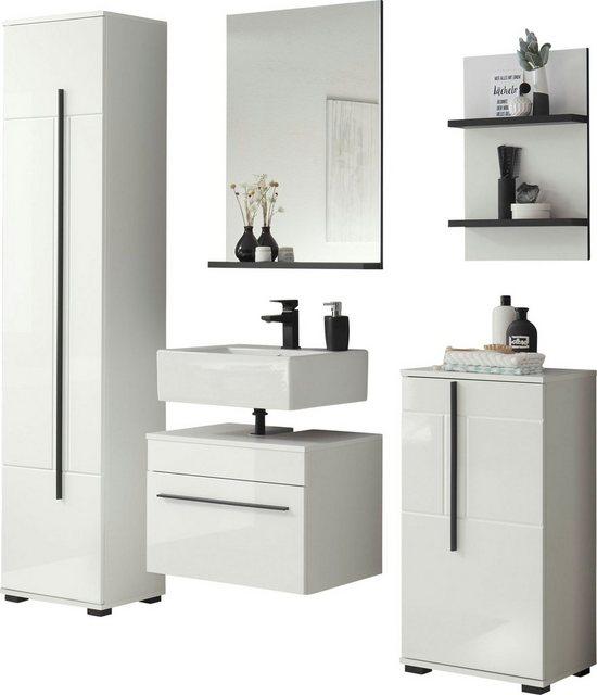 Badezimmer Sets - INOSIGN Badmöbel Set »Panarea«, (Set, 5 St), Fronten in Hochglanz  - Onlineshop OTTO