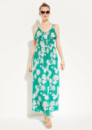 Comma Maxikleid »Langes Kleid mit Volant-Ausschnitt« Volants