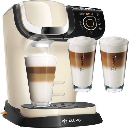 TASSIMO Kapselmaschine MY WAY 2 TAS6507, Kaffeemaschine by Bosch, creme, mit Wasserfilter, über 70 Getränke, Personalisierung, inkl. TASSIMO Latte-Macchiato-Glas »by WMF, 2er Pack« im Wert von 9,99 € UVP