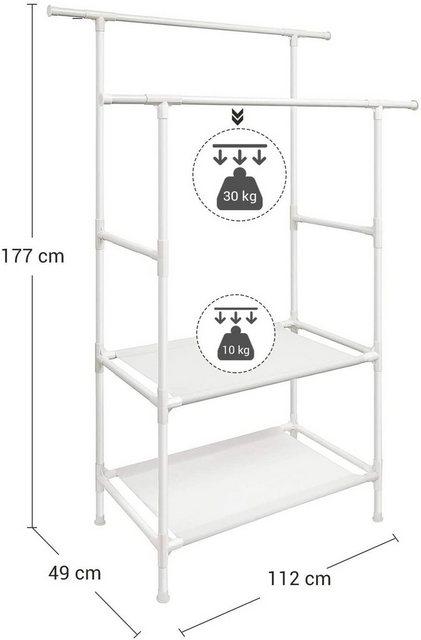 Kleiderständer und Garderobenständer - SONGMICS Kleiderständer »RDR02WT«, Kleiderständer, Garderobenständer aus Metall, mit 2 Kleiderstangen, 2 Ablagen, bis 80 kg belastbar, einfache Montage, weiß  - Onlineshop OTTO