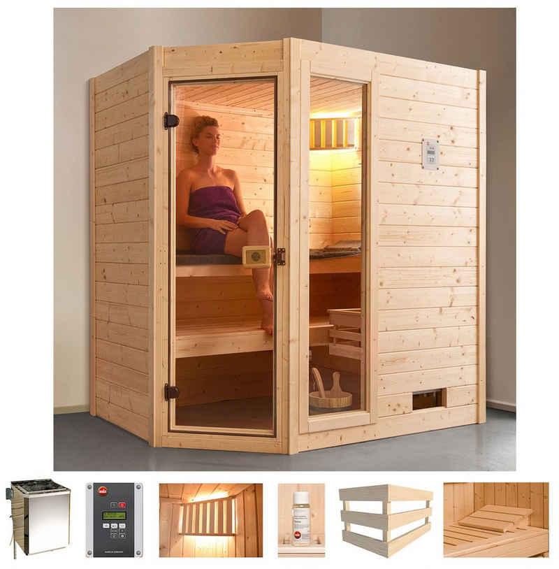 weka Sauna »Valida Eck 1«, BxTxH: 189 x 139 x 203,5 cm, 38 mm, 4,5 kW Bio-Kombiofen mit ext. Strg., Fenster