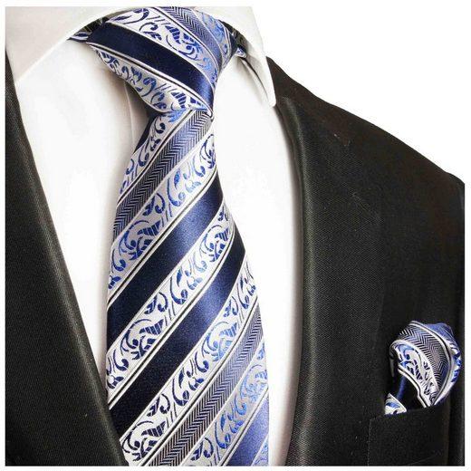 Paul Malone Krawatte »Herren Seidenkrawatte mit Tuch Schlips modern barock gestreift 100% Seide« (Set, 2-St., Krawatte mit Einstecktuch) Schmal (6cm), blau 855