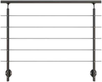 Dolle Treppengeländer, 150 cm Länge, 100 cm Höhe, mit 2 Pfosten, seitliche Montage