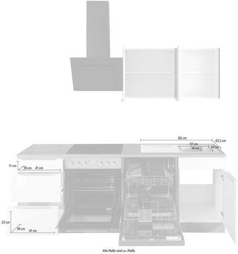 HELD MÖBEL Küchenzeile »Brindisi«, mit E-Geräten, Breite 220 cm