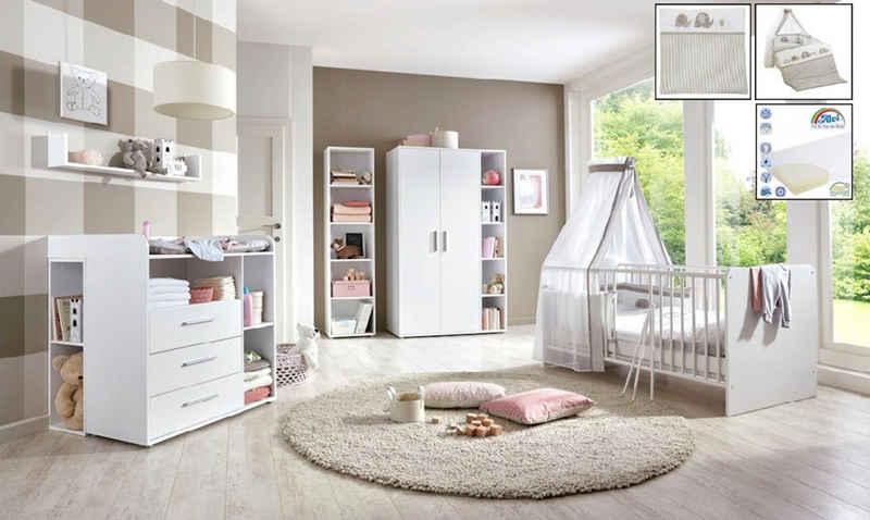 BMG Babyzimmer-Komplettset »Luis«, (Set, 11-St), Bett + Wickelkommode + 2-trg. Schrank + Standregal + Unterstellregal (Set 2-tlg) + Wandboard + Matratze & Textil-Set von Alvi
