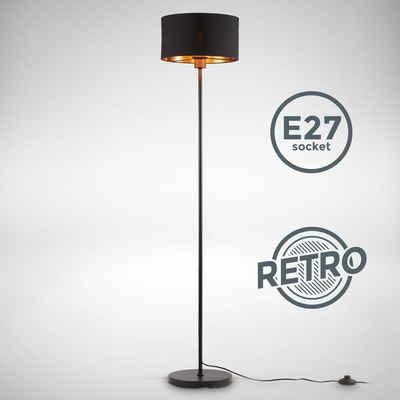 B.K.Licht Stehlampe »BKL1417«, Stoff-Stehleuchte Schwarz-Gold, E27, 1-flammig, Stoffschirm 30 cm, 140 cm Kabel mit Fußtaster, ohne Leuchtmittel