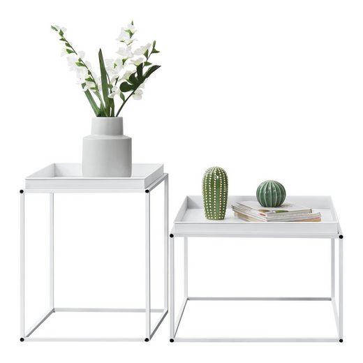 en.casa Tabletttisch, »Hirschhorn«- Beistelltisch im 2er-Set - Weiß