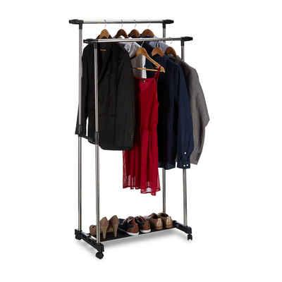 relaxdays Garderobenständer »Rollgarderobe mit 2 Kleiderstangen«