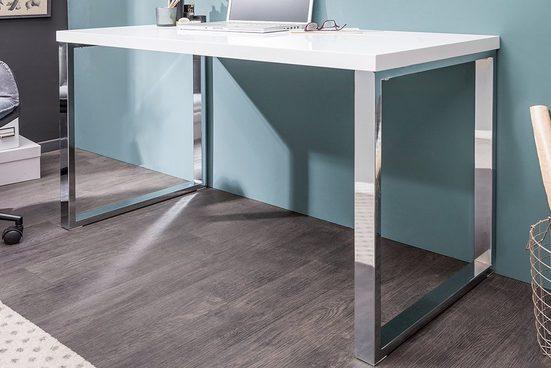 riess-ambiente Schreibtisch »WHITE DESK 120cm weiß / silber«, Arbeitszimmer · Hochglanz · Modern Design · Metall · Home Office
