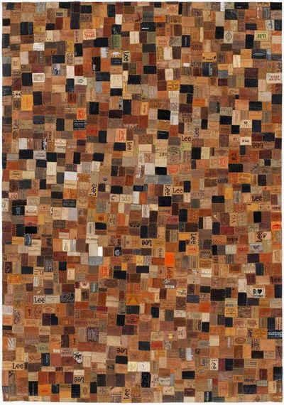 Lederteppich »Labelstar«, OCI DIE TEPPICHMARKE, rechteckig, Höhe 3 mm, echtes Leder im Patchwork Design, Wohnzimmer