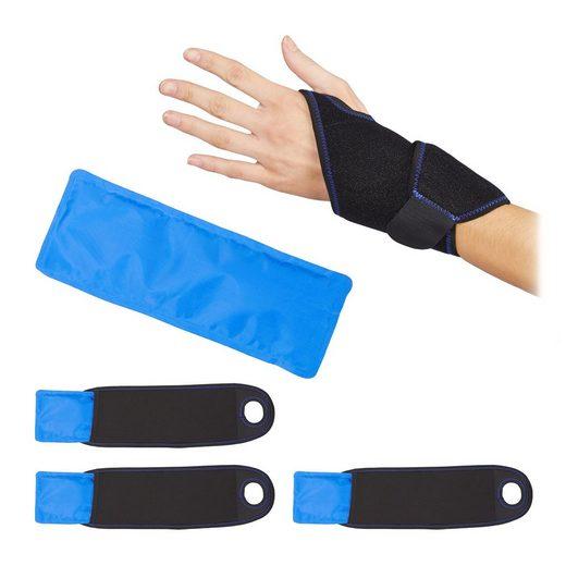 relaxdays Gelkissen »4 x Kühlpad Handgelenk Bandage«