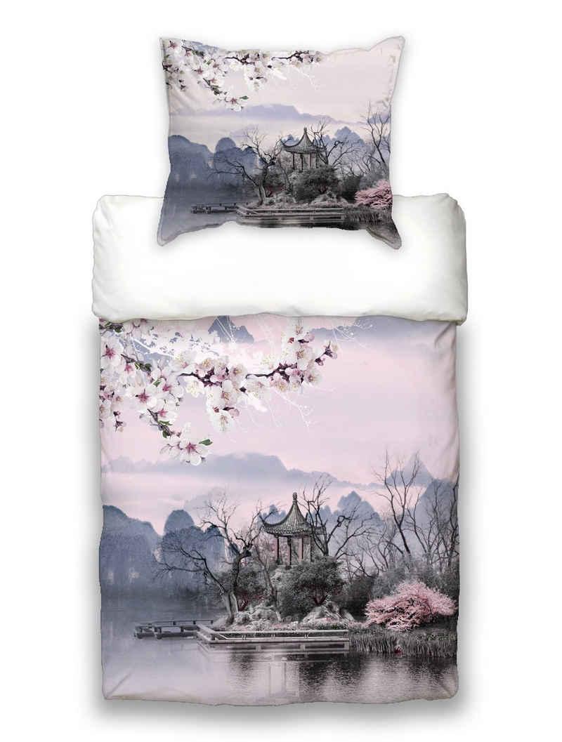 Bettwäsche »Hanami«, beties, Japan-Hanami Kirschblüten Wende Bettwäsche ca. 135x200 cm + 80x80 cm Soft-Feeling 100% feinste Baumwolle