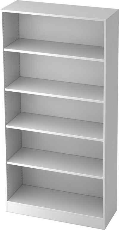 bümö Aktenregal »OM-6400«, Büroregal, Bücherregal, Regal für Ordner, Akten & Bücher mit 5 Ordnerhöhen - Dekor: Weiße