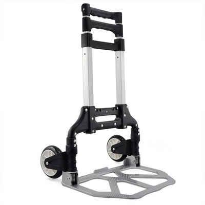 Yaheetech Sackkarre, Alu Handkarre Transportkarre bis 80 kg Einkaufstrolley klappbar Alu-Karre