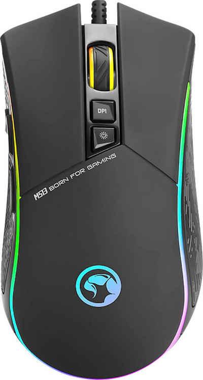 MARVO »M513« Gaming-Maus (kabelgebunden, RGB-LED, 7 Tasten, 2ms, 6700 dpi)