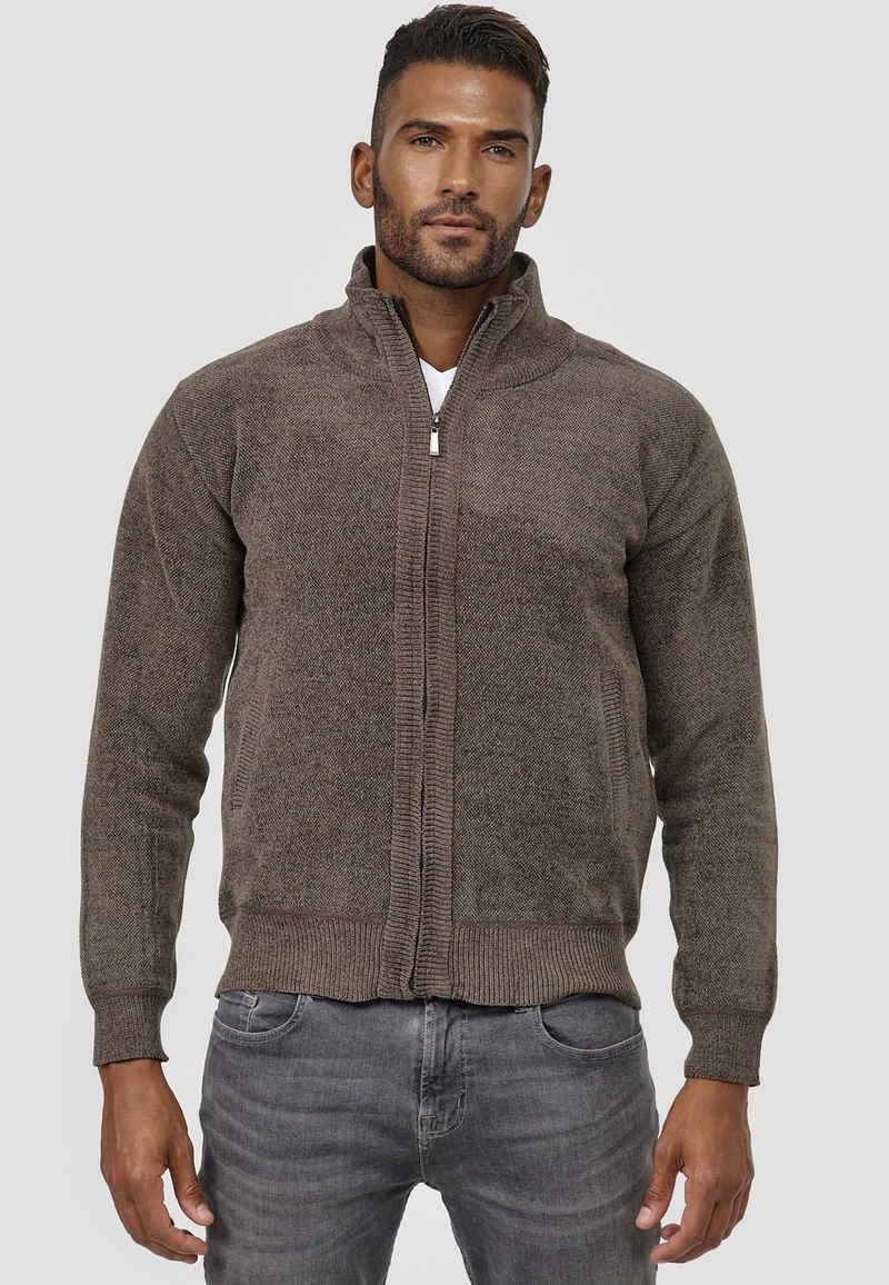 Max Men Cardigan »3796« (1-tlg) Herren Strickjacke Velours Sweatshirt Full Zip Longsleeve Gefüttert