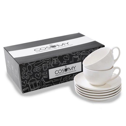 Cosumy Cappuccinotasse »Cappuccino Tassen 6er Set aus Keramik Weiß - Mit«, Keramik, Cappuccino Tassen 6er Set aus Keramik Weiß - Mit Untertassen - Hält Lange warm - Spülmaschinenfest - 180ml