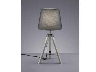 meineWunschleuchte LED Tischleuchte, Skandi Lampen, Holz-Lampe, Landhausstil, Lampenschirm Stoff Grau, Industrial Style, Große Lampe Fensterbank, Dreibein