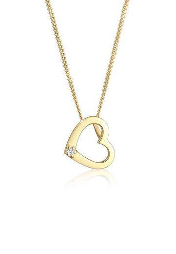 Diamore Collierkettchen »Herz Liebe Diamant (0.015 ct) Love 585 Gelbgold«