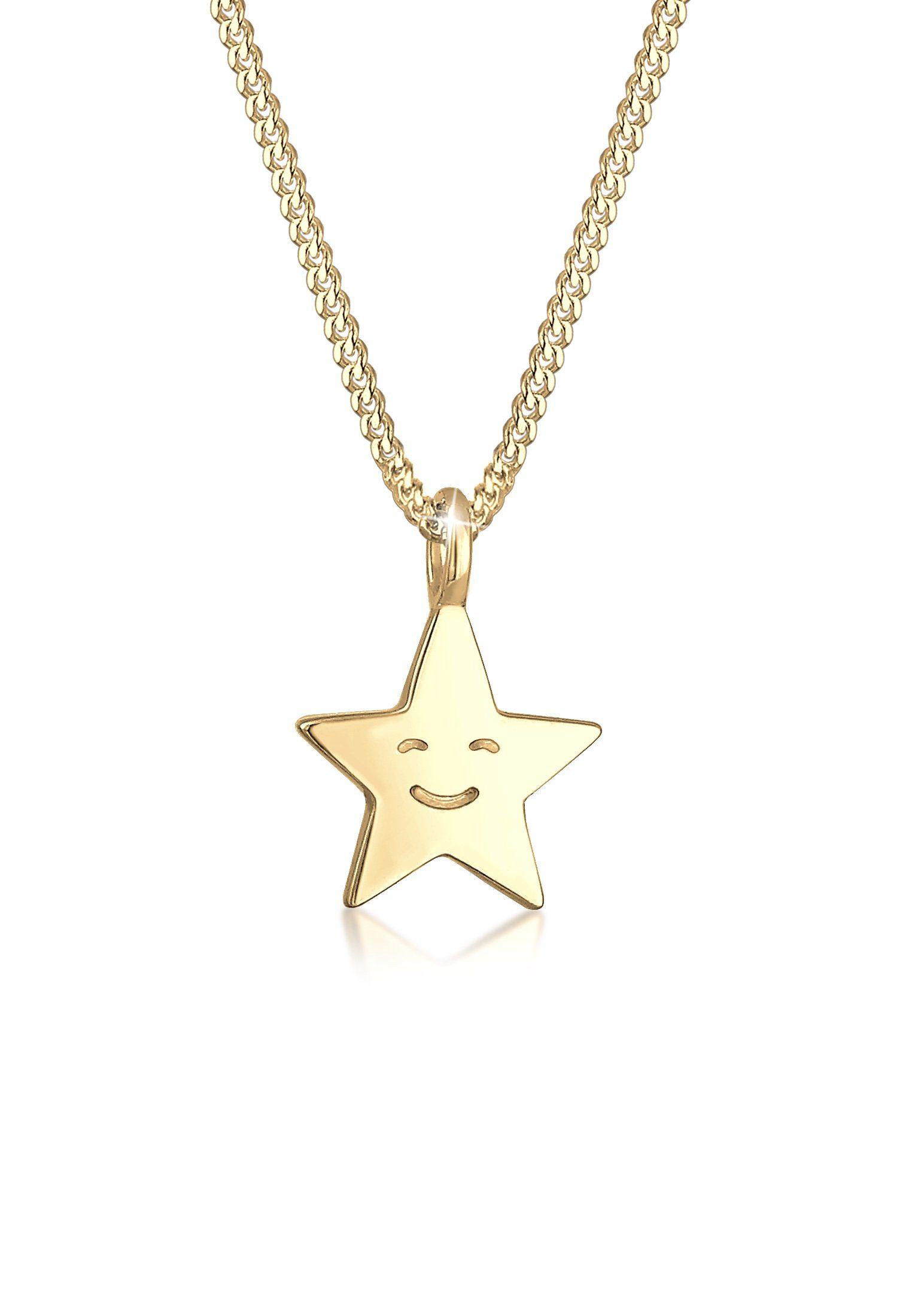 Elli Collierkettchen »Kinder Astro Stern Gesicht 925er Sterling Silber«