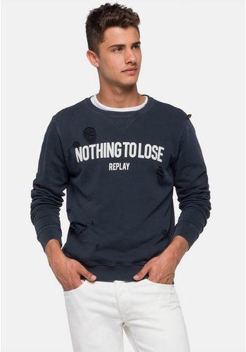 Herren Replay Sweatshirt NOTHING TO LOSE Destroyed-Elemente blau   08054381573099