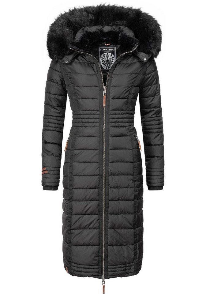 Damen Navahoo  Wintermantel Umay langer Damen Winter Steppmantel mit Kunstfellkapuze schwarz | 04059072262706