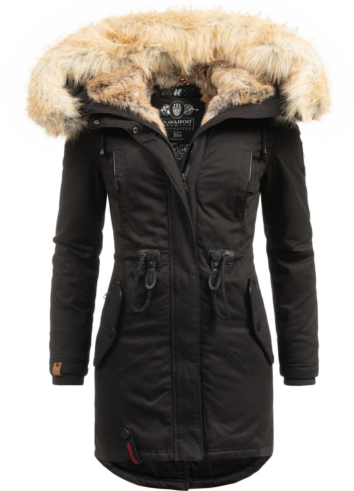 Navahoo Wintermantel »Bombii« stylischer Damen Winterparka mit Kunstfell-Kapuze