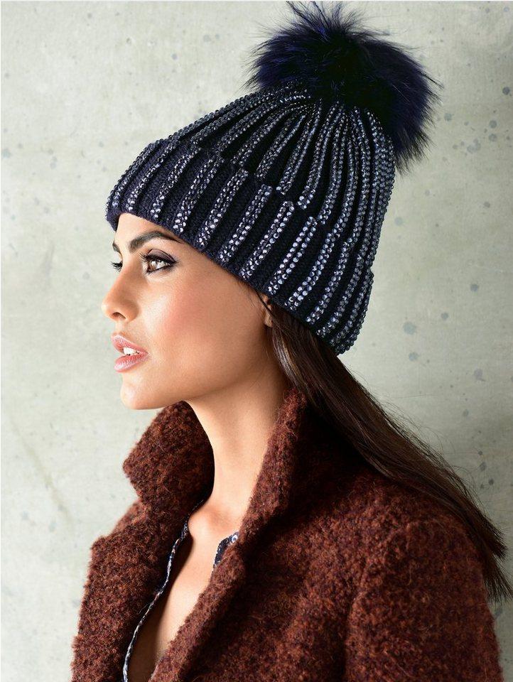 Alba Moda Mütze mit modischemFake Fur Puschel