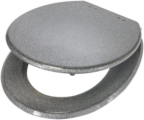 WC-Sitz »Glitzer / Glamour«, Toilettensitz aus Polyresin, silberfarben, glitzer
