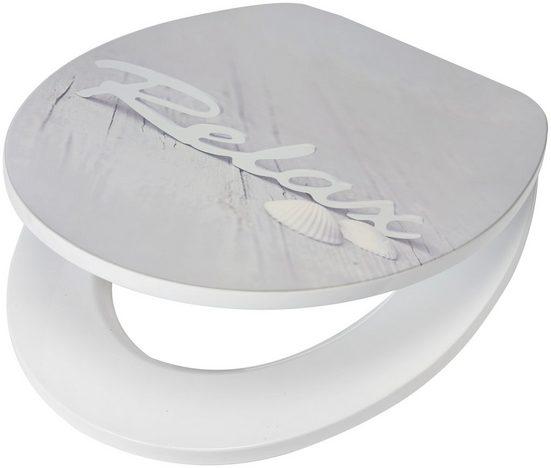WC-Sitz »Relax / Beach«, MDF Toilettensitz mit Absenkautomatik, grau, Muschel