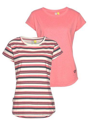 Alife Shirts Streifenoptik Modische And Melange Kickin Und Im Rundhalsshirt tlg packung In Doppelpack Kurzarm »lilly« 2 11zwpq