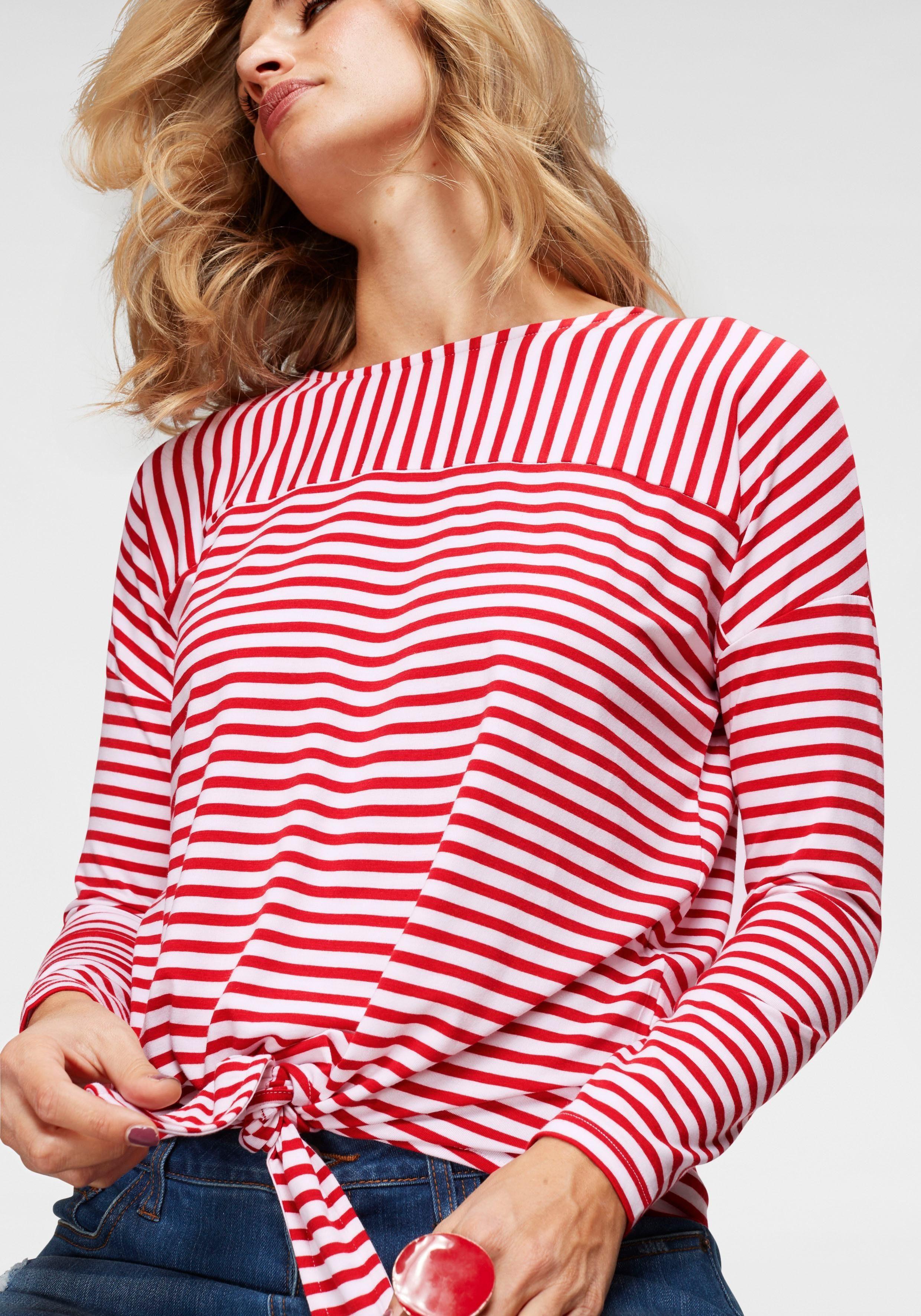 Zu Aniston Vorne Bindeband Mit Online Langarmshirt Knoten Baur By Kaufen I7ygYb6fv