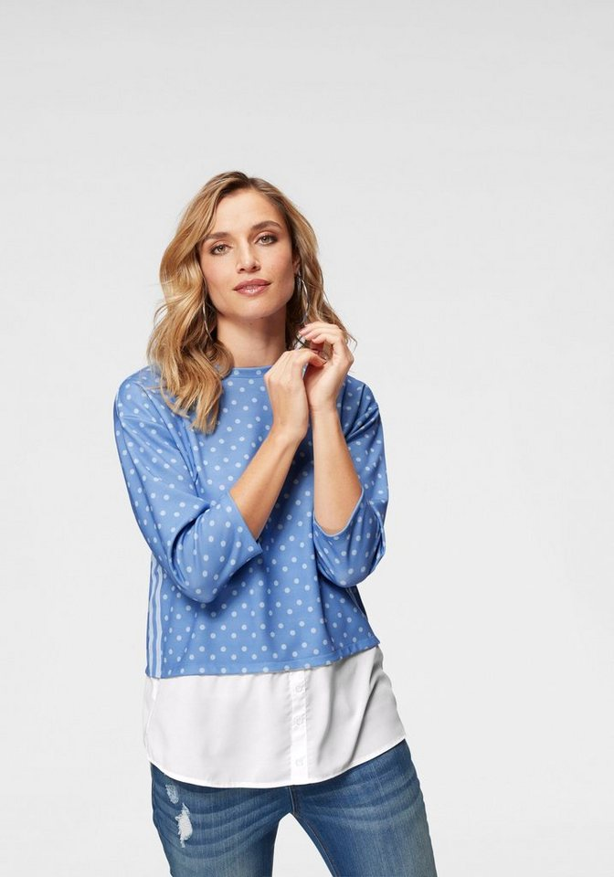 Aniston by BAUR 2-in-1-Pullover kleine und große Punkte trendig kombiniert   Bekleidung > Pullover > 2-in-1 Pullover   Blau   Aniston by BAUR