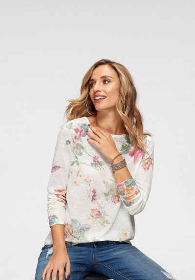 Aniston CASUAL Langarmshirt mit großflächigem Blumendruck und Vögeln