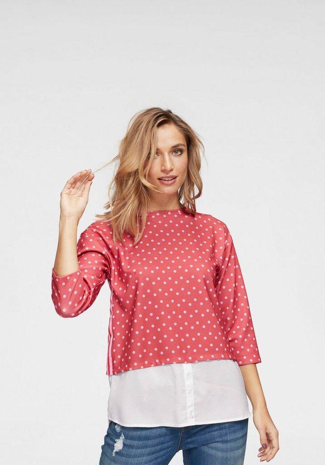 Aniston by BAUR 2-in-1-Pullover kleine und große Punkte trendig kombiniert - NEUE KOLLEKTION | Bekleidung > Pullover > 2-in-1 Pullover | Rot | Aniston by BAUR