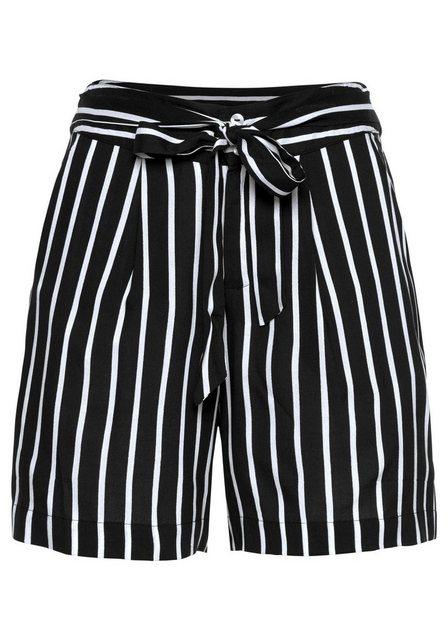 Hosen - Aniston CASUAL Shorts mit Streifen oder Tropical Print › schwarz  - Onlineshop OTTO