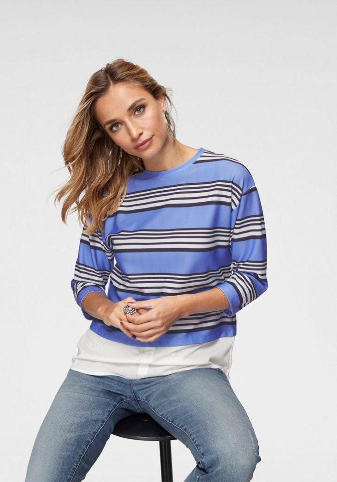 Aniston by BAUR 2-in-1-Pullover mit trendigen Streifen   Bekleidung > Pullover > 2-in-1 Pullover   Blau   Aniston by BAUR