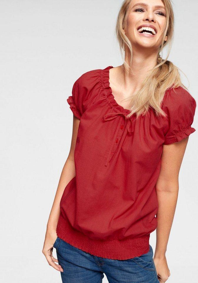 Cheer Shirtbluse mit Smokbund, Damenbluse mit kurzen Ärmeln online ... 9147b7c925