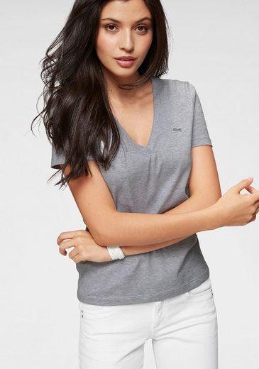 Lacoste T-Shirt mit markentypischem Detail und V-Ausschnitt