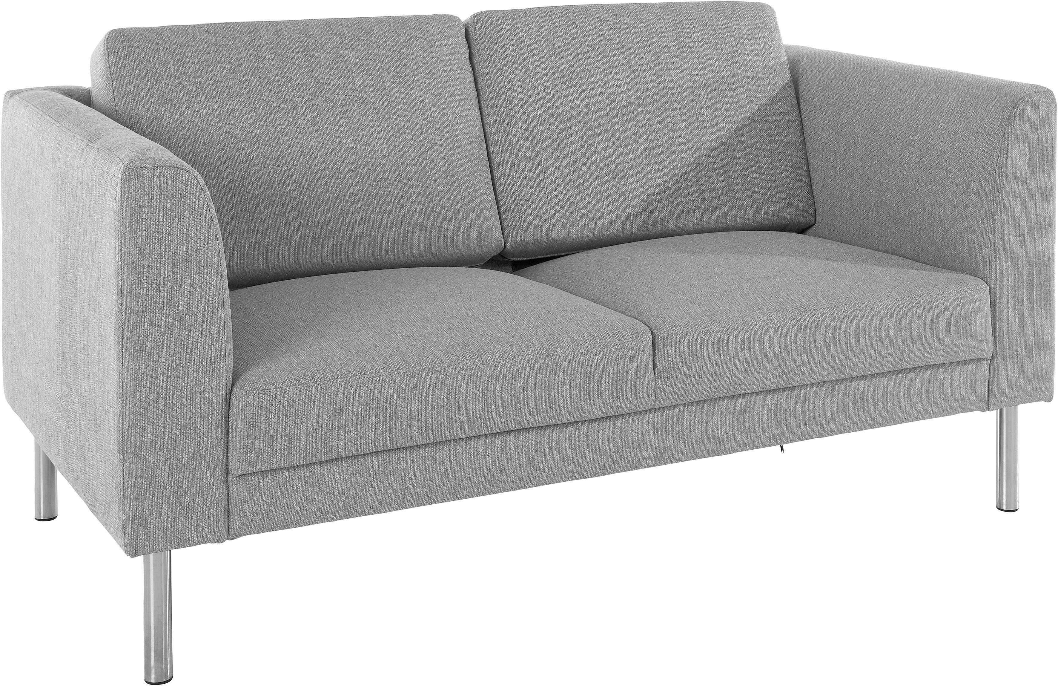 andas 2-Sitzer Sofa »Christian« aus schönem, bequemen Strukturbezug und eleganten, chromfarbenen Metallbeinen