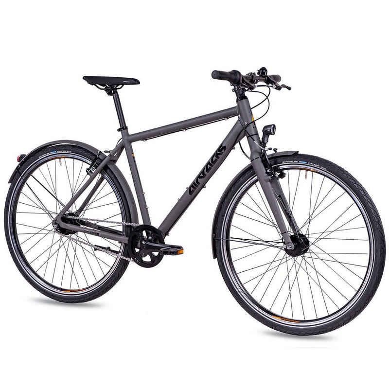 Airtracks Cityrad »Herren City Fahrrad 28 Zoll Urban Bike UR.2840«, 7 Gang SHIMANO NEXUS, Nabenschaltung, Grau Matt - Rahmenhöhen 52cm, & 56cm » Modeljahr 2021 «
